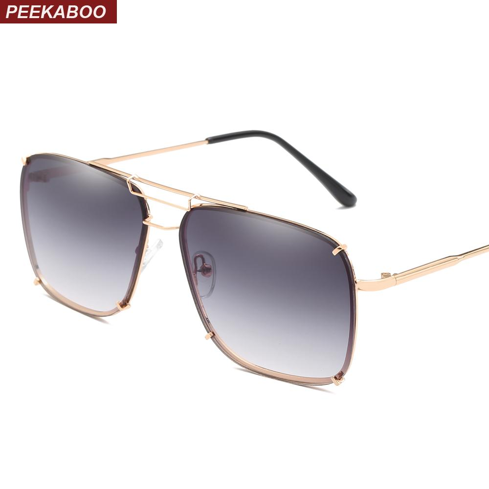 732c19f67040 Peekaboo Square Frame Sunglasses Men Metal Frame Unisex Gold Black Flat Top  Square Sun Glasses For Men 2018 Uv400 Eyewear Designer Sunglasses From ...