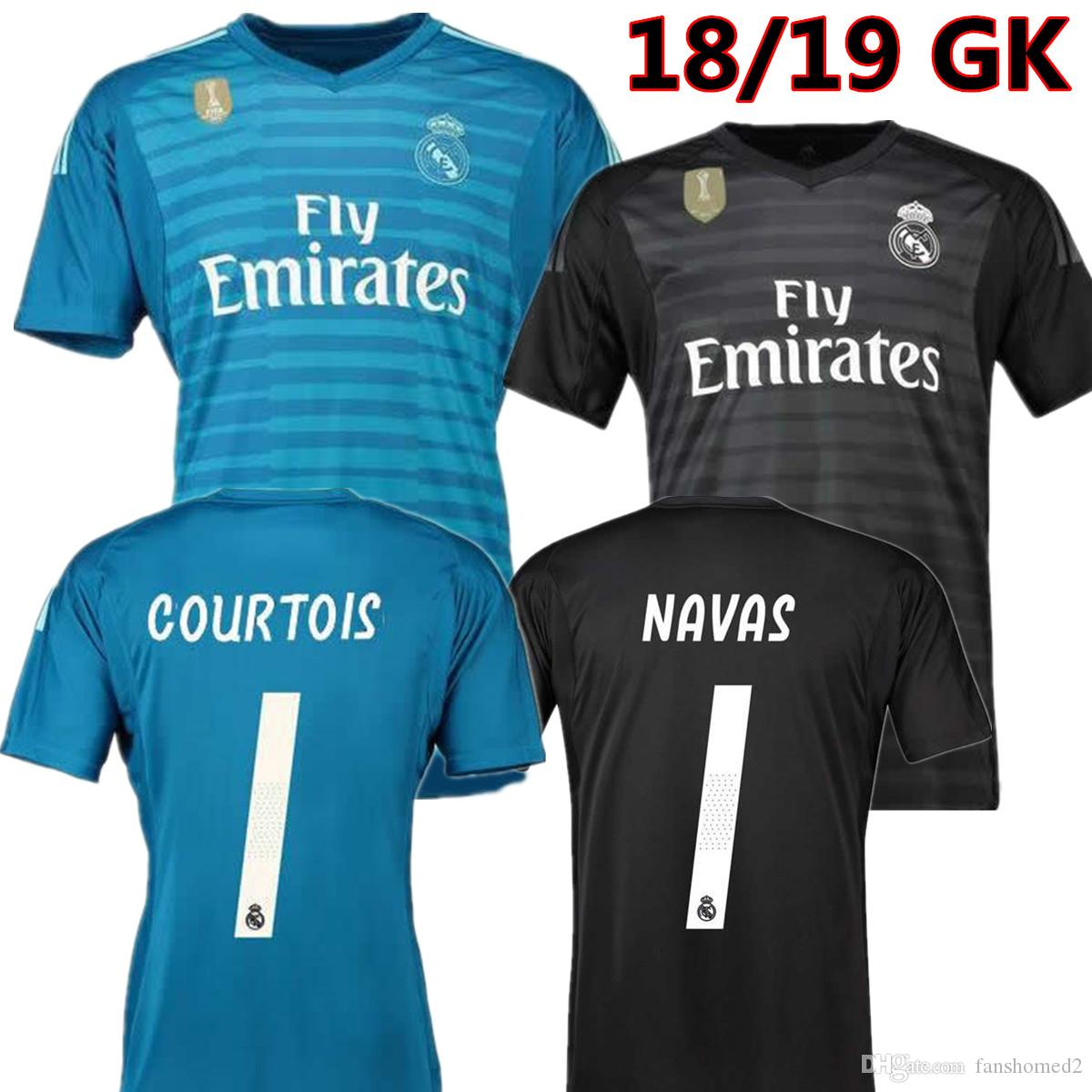 ab02044f3b5d6 2018 2019 Real Madrid Goalkeeper Jerseys 18 19 Keylor Navas Jersey Camiseta  Portero 25 Thibaut Courtois 1 Real Madrid BALE Maillot De Foot Por  Fanshomed2