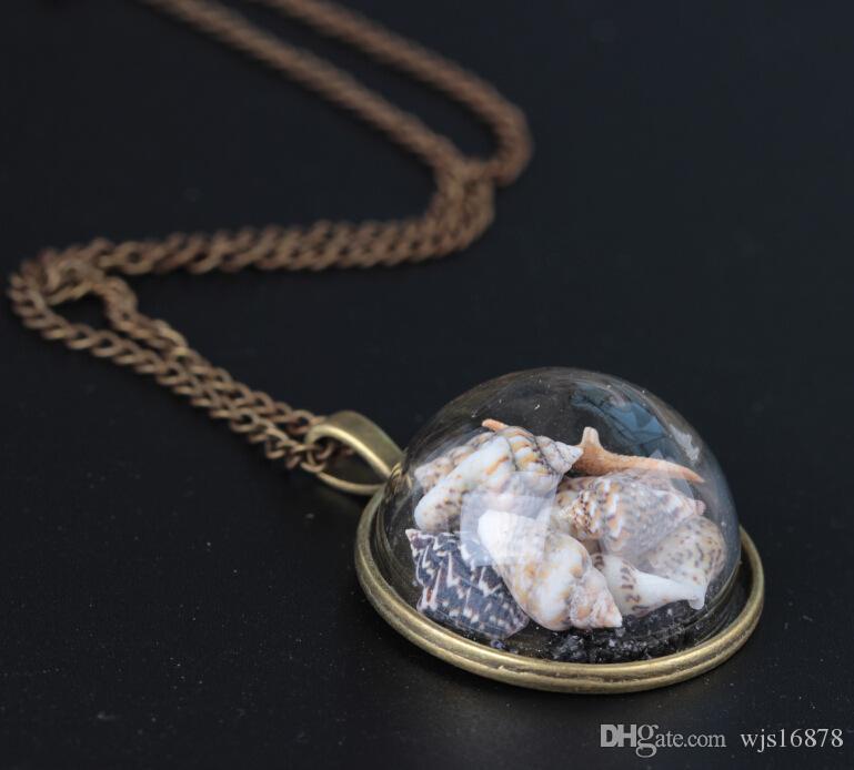 Caliente ! 2019 Fashion Beach Wind Shell Conch Star Colgante Collar Glass Moonlight Gemstone Ocean Element Collar para mujer Accesorio de joyería