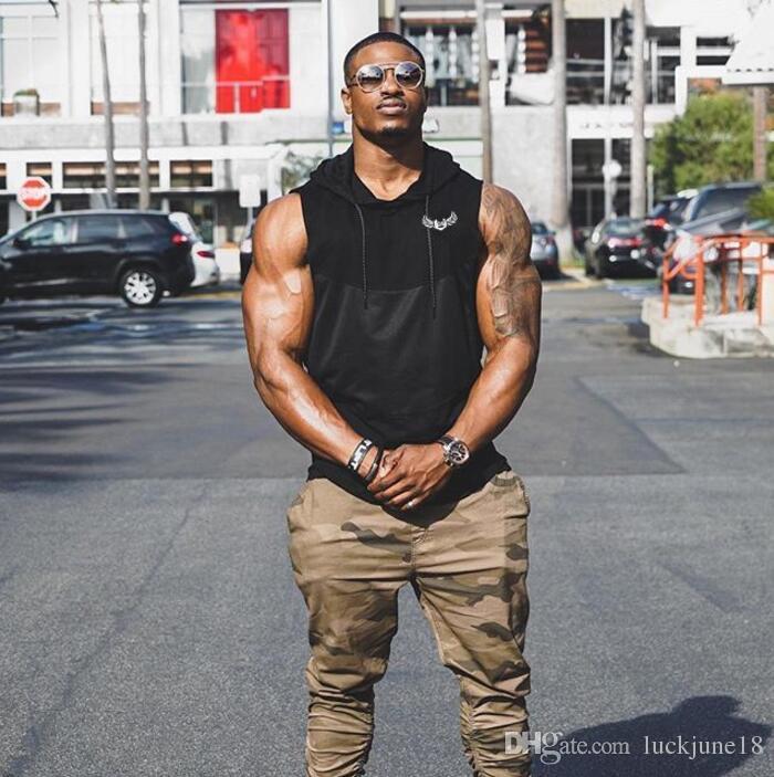 2018 Erkekler yaz yelek ter-emici Ince bölüm Erkekler Için Hoodies Tankı Üstleri Rahat Vücut Geliştirme Egzersiz Salonu Kapüşonlu Kolsuz T-Shirt ...