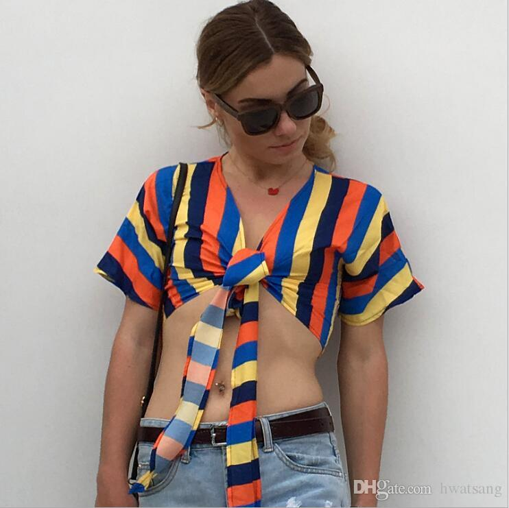 b7f07d9c20 2019 Contrast Color Striped Women Cover Ups Summer Beach Chiffon Europe And  America T Shirt Holiday Sun Protection Clothing Women Swimwear Shirt From  ...