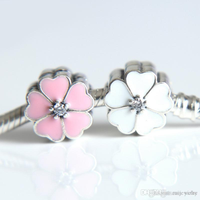 32e568168 100% Authentic 925 Sterling Silver White Flower Charm Clips Beads ...