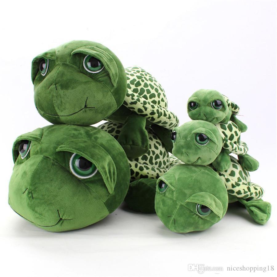 Big Eyes Green Turtle Plush Toys Cartoon Anime Small Turtle Stuffed