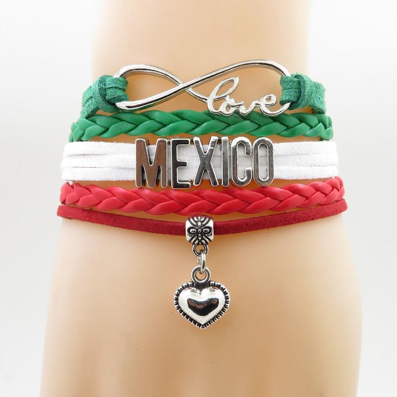 1646e1edf005 Compre Infinito Love Mexico Pulsera Corazón Charm Bracelet Love My  Motherland Pulseras Pulseras México Para Mujer Y Hombre A  20.15 Del  Sihuoguo