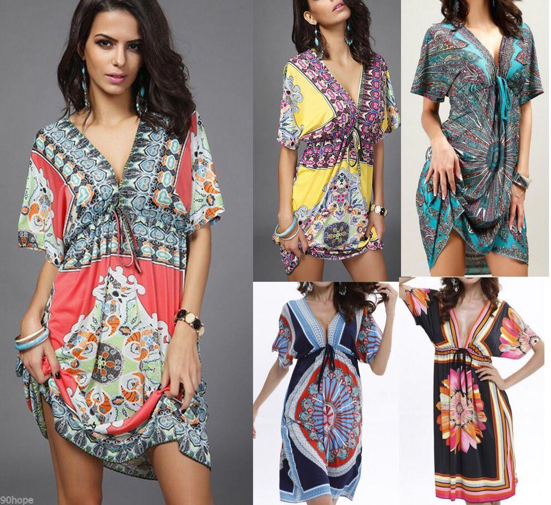 Women Loose Holiday V Neck Floral Mini Ladies Beach Party Dress Plus Size  Kaftan