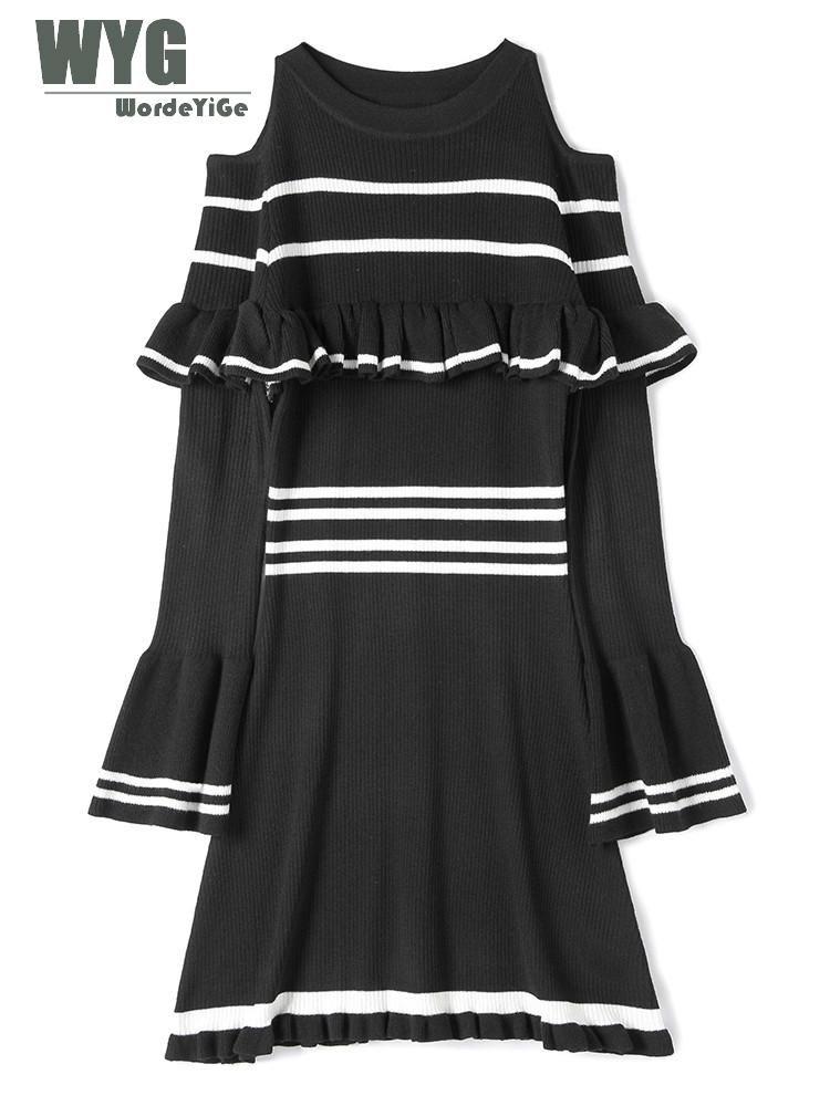 2019 Cold Shoulder Dresses For Women 2018 Autumn New Black White