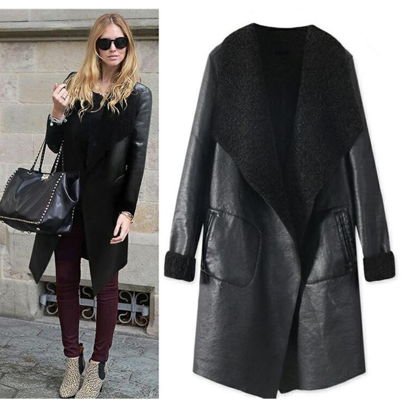 c7ffde2c81f 2019 Women S Autumn Winter Lamb Cashmere PU Leather Jackets Long Large Size  Thick Lambskin Cardigan Outerwear Coats Plus Size W214 From Bdress001