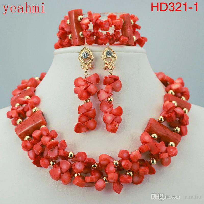 Gorgeous African Coral Beads Bridal Jewelry Set African Beads Jewelry Set for Wedding Free Shipping HD321-1