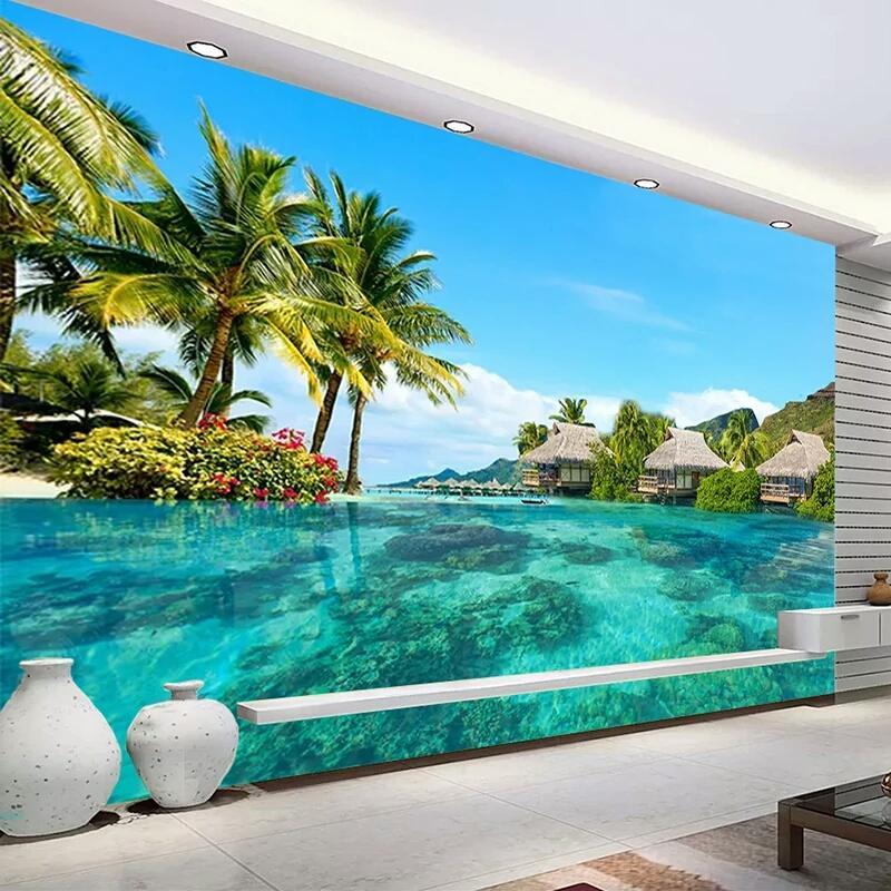 Satın Al özel 3d Fotoğraf Kağıdı Hd Maldivler Deniz Plaj Doğal