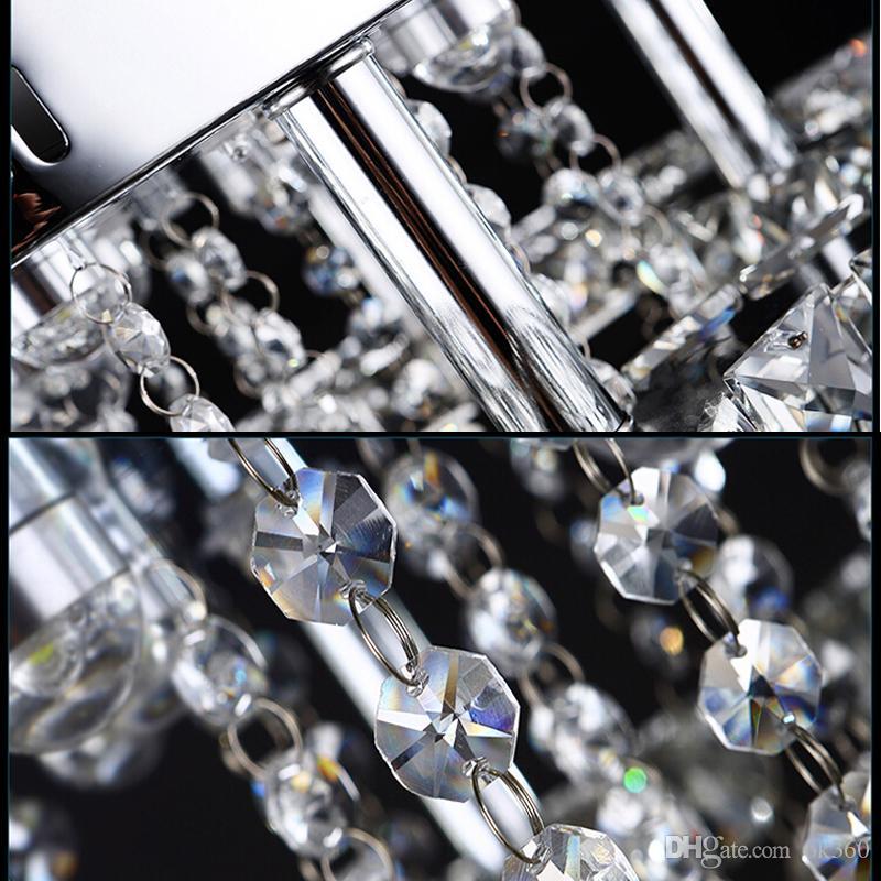 Современный нержавеющая сталь Кристалл люстра люстры краткое гостиной лампы светодиодные K9 хрустальные люстры освещение светильник круг