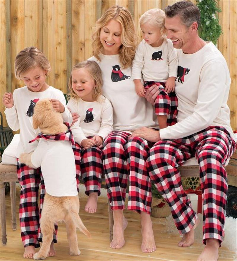 cfb29e3079 2018 Christmas Pajamas Family Matching Outfit Cartoon Bear Long Sleeve + Striped  Grid Pants Soft Kid Adult Xmas Sleepwear Bedgown Nightwear From ...