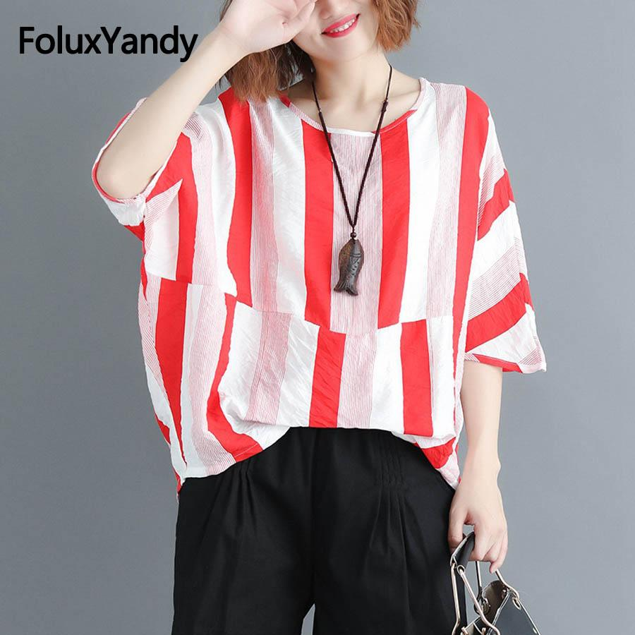 80d98e2ee 2018 Summer Oversize Tops Plus Size Women Striped Batwing Sleeve T Shirts  Half Sleeve Casual Loose Tops MMHH631 Moto Shirts Tee T Shirts From  Edwiin04, ...