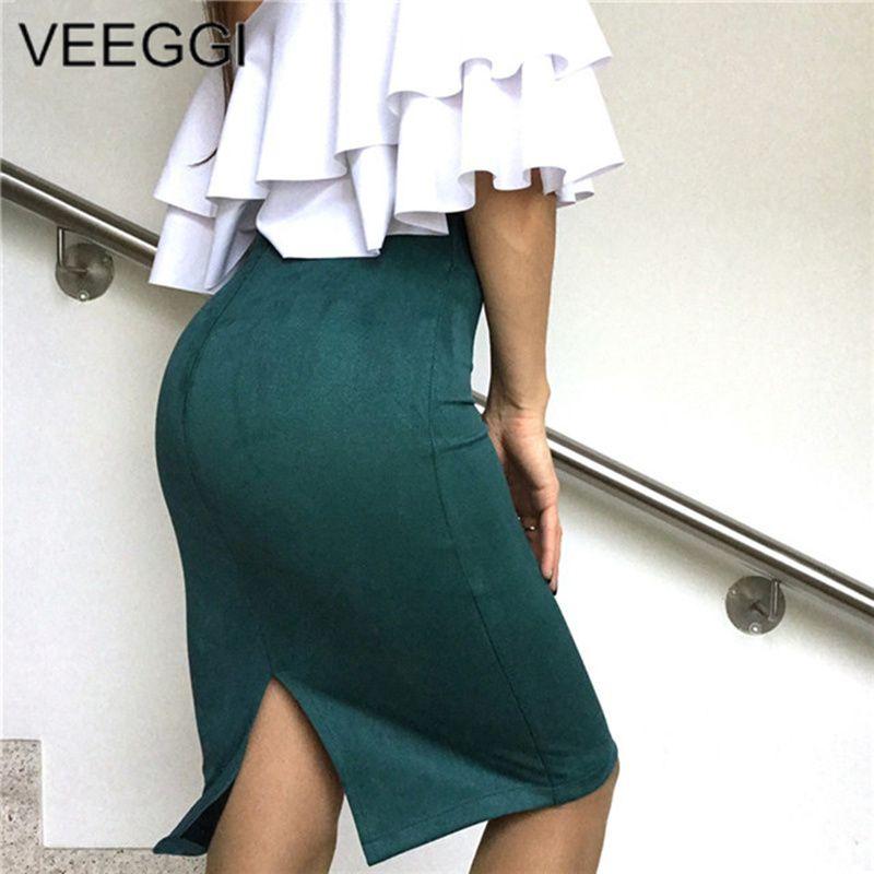 c7a131085b1 2019 VEEGGI High Street 2018 Women Suede Multi Color Pencil Midi Skirt  Female Autumn Winter Basic Tube Bodycon Skirts Saia A1609022 From Brry