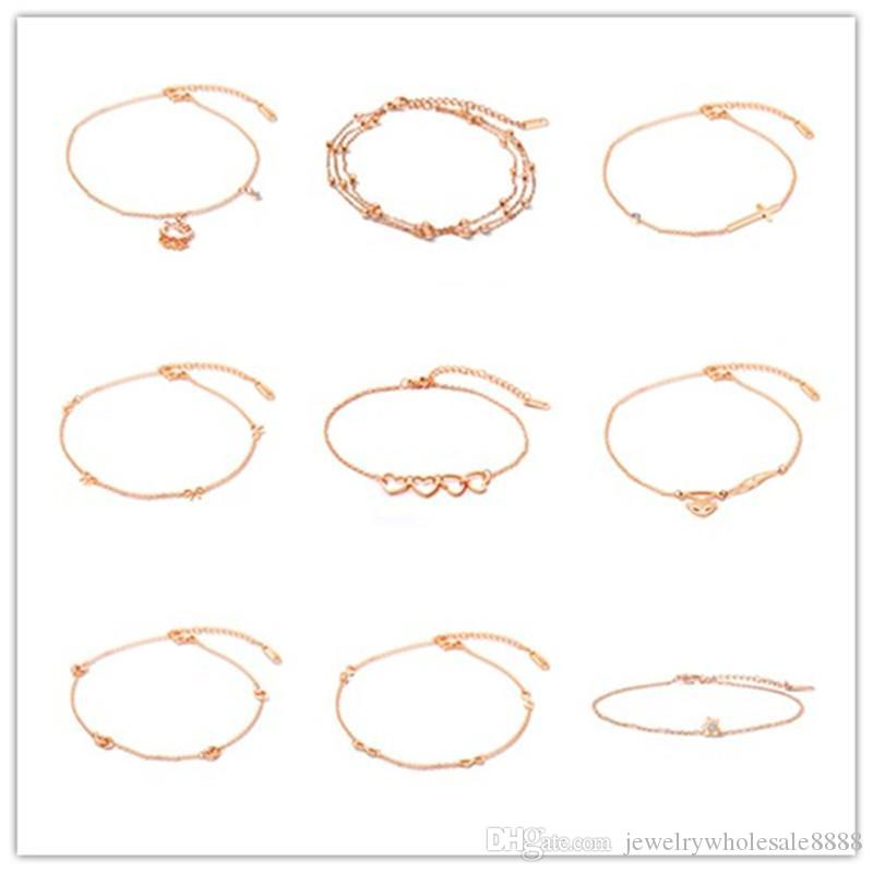 925sterling Solid Silver Jewelry Crystal Geometry Chain Anklet Bracelet A036 Ideal Gift For All Occasions Jewelry Sets & More
