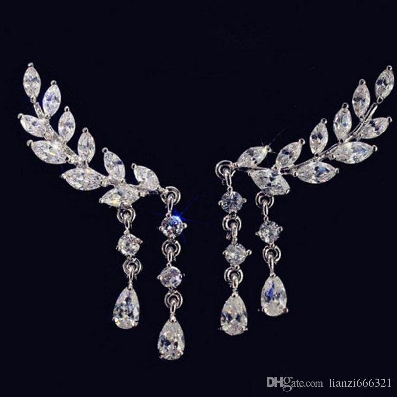 Горячая новая мода довольно новый сладкий флэш-Алмаз популярные листья листьев кисточкой Кристалл капли серьги бесплатная доставка HJ179