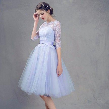 Bir çizgi Scoop Yarım Kollu Kısa Parti Elbise. Sınıf Gelinlik Modelleri vestido de festa curto Mavi Dantel Mezuniyet Elbiseleri 2018