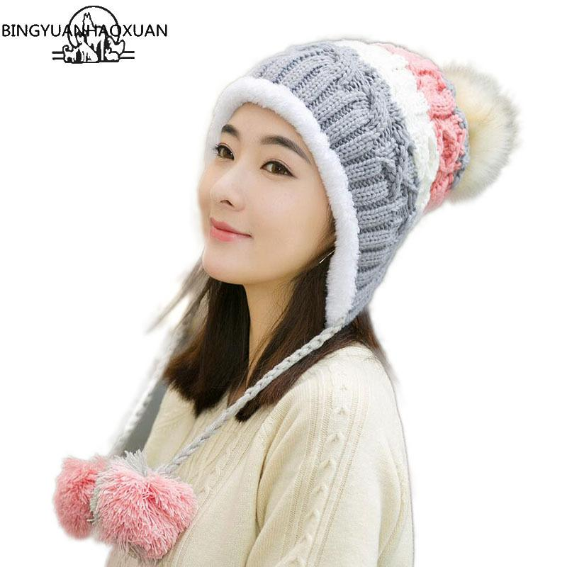 95af797063779 BINGYUANHAOXUAN Stitching Knitted Hat For Women Mixed Ball Hanging Ball Winter  Caps For Girls Thick Cotton Hats Adult Autumn Hat S1020 Knitted Hat Cap Hat  ...