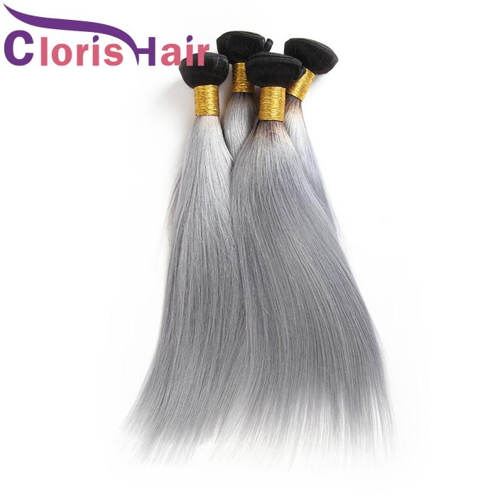 Colored Two Tone 1B Gray Raw Indian Virgin Human Hair Bundles Dark Roots Silver Grey Ombre Weaves Silk Straight Hair Extensions For Sale