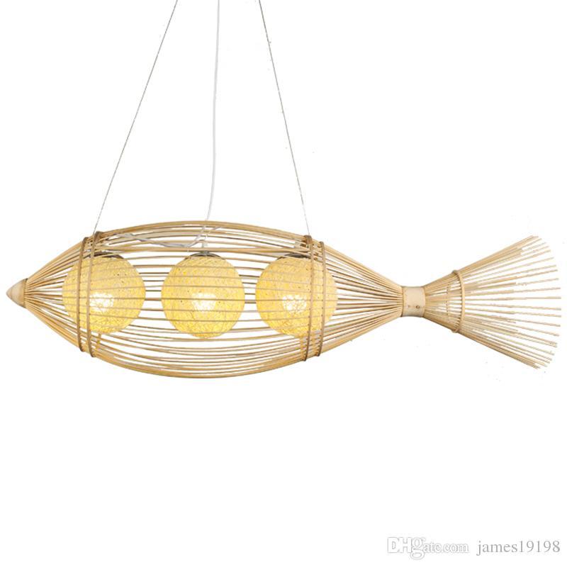 Grosshandel Bambus Fisch Pendelleuchten Handmade Bambus Weben