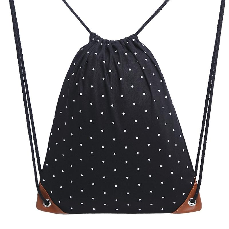 0792307e7960 2019 Polka Dot Drawstring Backpack Gym Sport Bags Canvas With Pockets For  Women Girls From Swiscafe