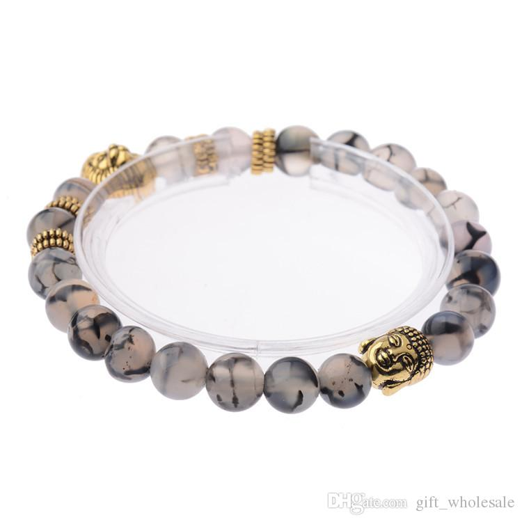 New Design Wholesale Agate Stone Beads Bracelet Gold Silver Plated Lion God head beading Best Gift Bracelets