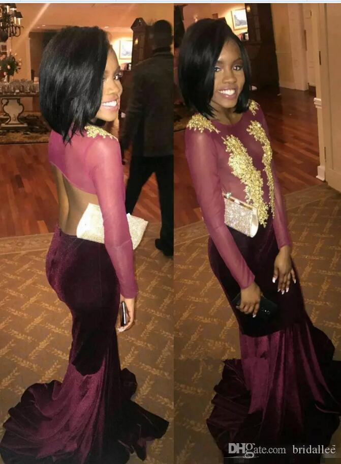 Long Sleeve Mermaid Evening Dresses Jewel Gold Lace Applique Sweep Strain Open Back Burgundy Prom Gowns 2018 Party Gowns Custom Made