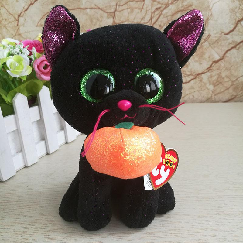 2019 Ty Beanie Boos Collection Black Cat With Pumpkin Plush Toy