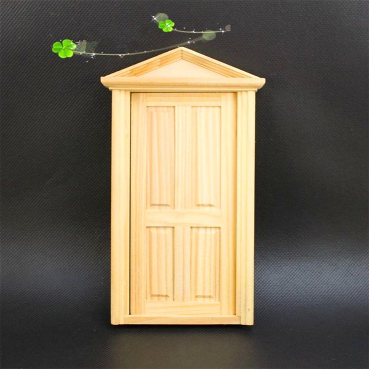 Diy Handmade Miniature 4 Panel Wooden Classical Exterior Door Frame