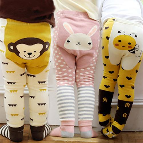 Free shipping cute boy girls leggings baby tights cartoon animal cotton leggings pants socks 2pcs sets spring autumn kids clothes 10 colors