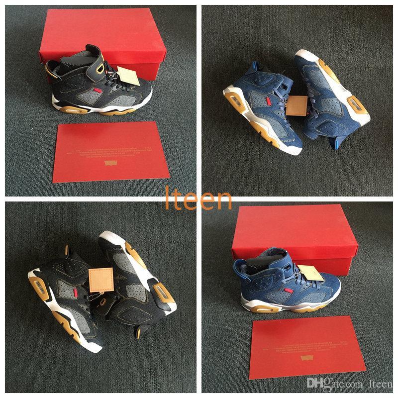 new product 7de37 6f187 Compre 2018 New Classic 6 6s Denim Black LS Jeans Travis NRG Hombres  Zapatillas De Baloncesto Para Hombres Blue Jeans Sneakers With Box Size 7  13 A  97.78 ...