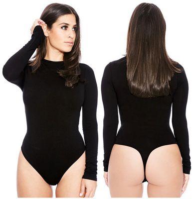 Женщины сплошные кривые комбинезоны женщины с длинными рукавами с длинными рукавами узкие формированные формированные морозильные шеи тела для похудения Высокая талия женские Rompers S-XL EUR