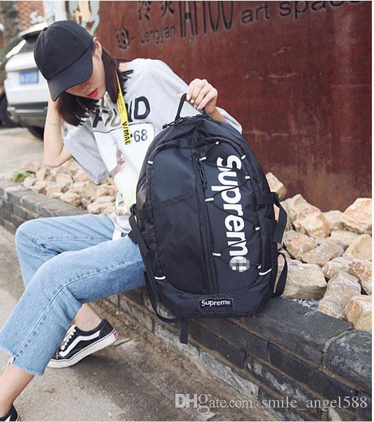 ade8ac5491cb 18S SUP Backpack Female Men s Youth Fashion Tide Brand Printing ...