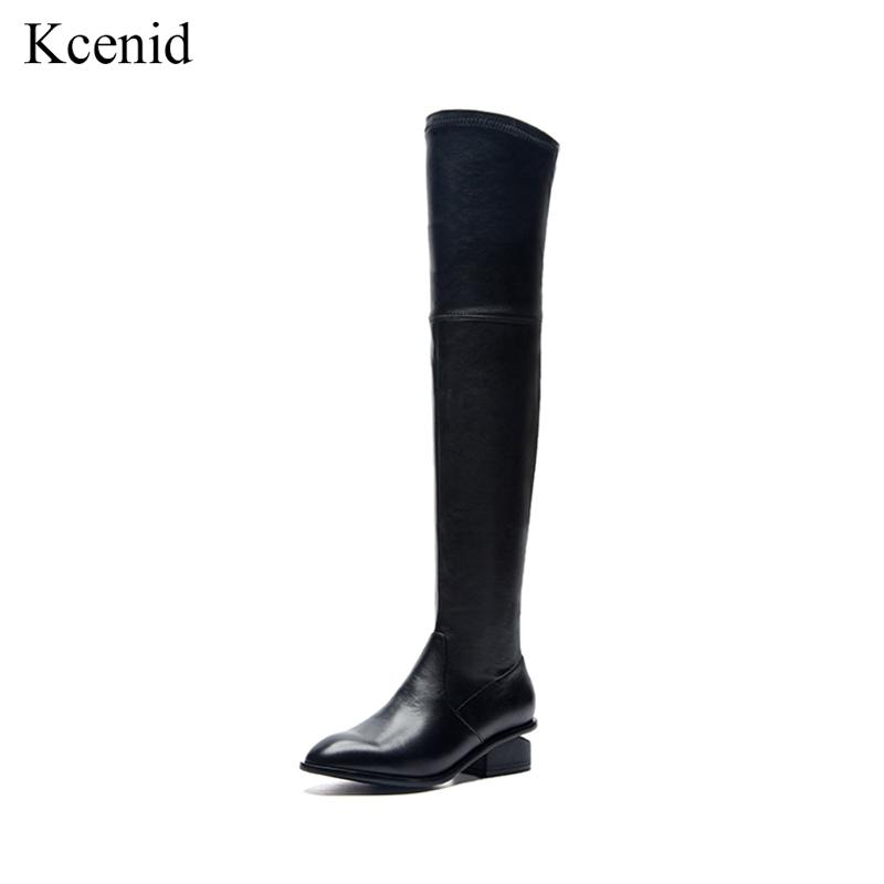Kcenid 2019 Autumn Winter Stretch Slim Shoes Women Over the Knee ... 183edc4d1bb5