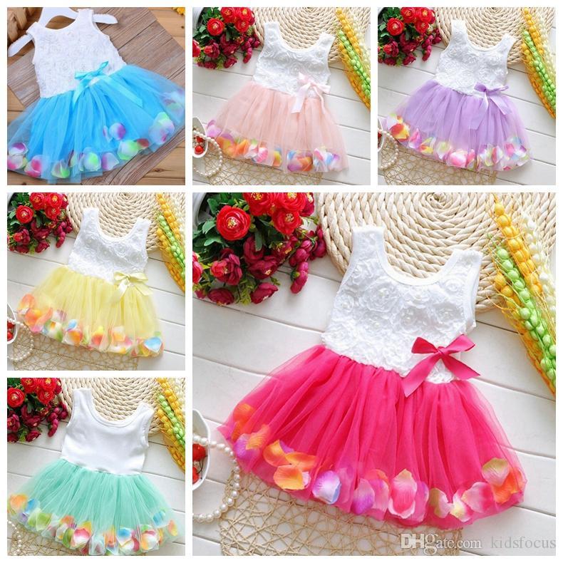 Fashion baby girls flower dress summer kids cute lace tutu dress kids girls petal princess dress skirt