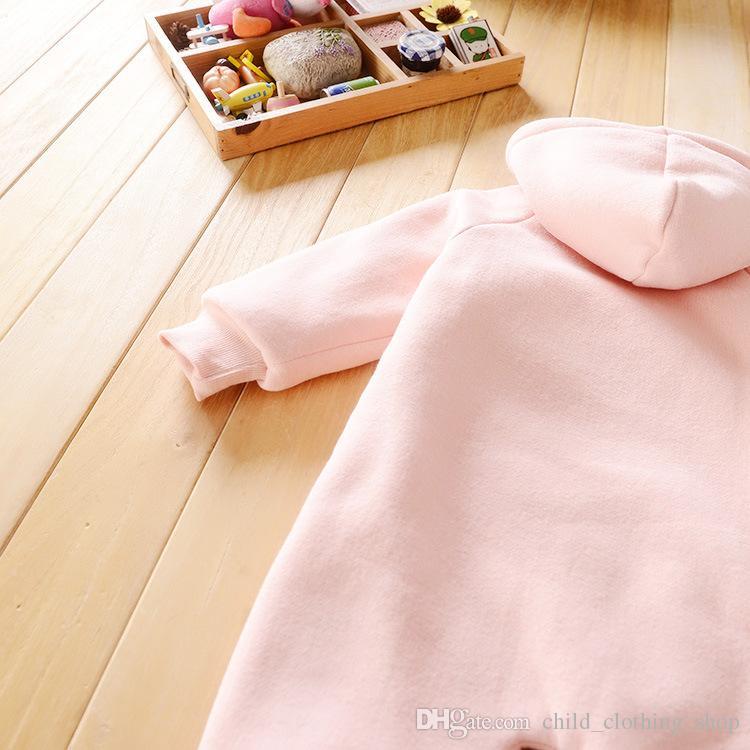 Polar fleece Säuglingsspielanzug Kleidung Mode Jungen Mädchen Winter 6-24 Mt Samt Verdicken stickerei Tiger Romper Kopf Mit Kapuze Kleidung