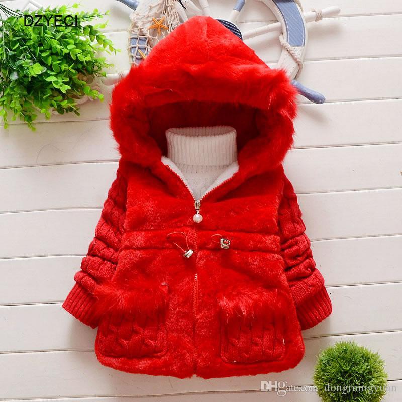 777396a132 Inverno Com Capuz Casaco Quente Para O Bebê Roupas de Menina Traje de Natal  Kid Boutique Casaco De Pele Fina Crianças Outwear Casaco 2 3 4 5 6 Ano
