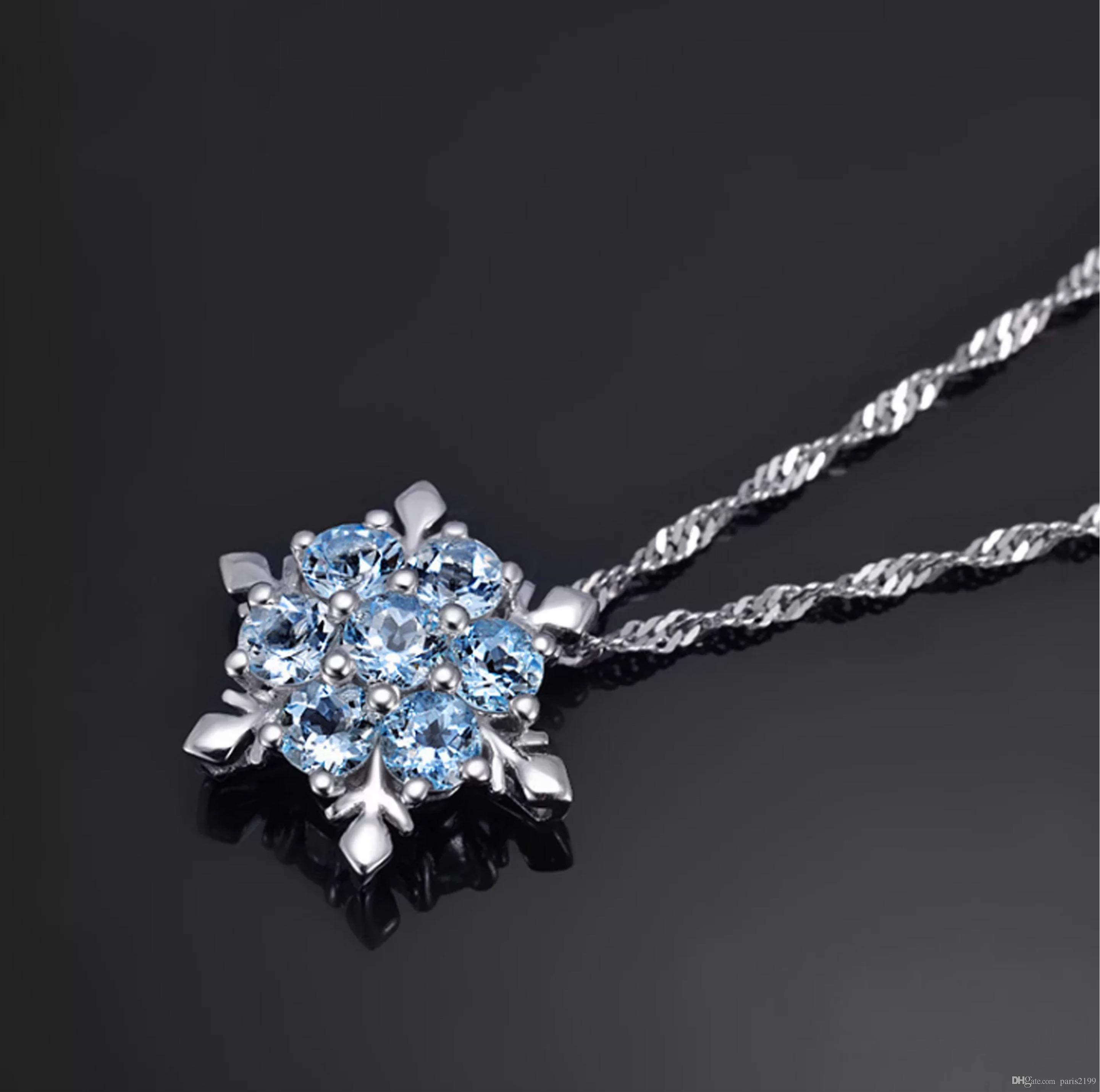 Moda donna Gioielli Blu cristallo fiocco di neve Fiore congelato s925 Collana in argento con pendenti a catena