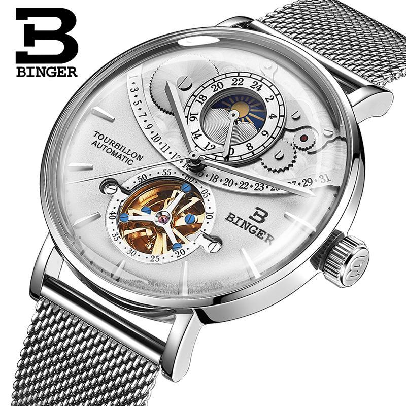 2745a7f7423 Compre Suíça Assista Homens BINGER Automático Mecânico Homens Relógios De  Luxo Da Marca Sapphire Relogio Masculino Presentes Brancos À Prova D  Água  De ...