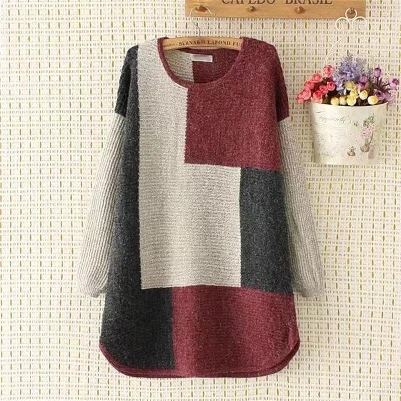 Plus size loose Autumn & winter oversized women red & yellow Patchwork pullovers sweater 2017 casual long sleeve wool pull femme