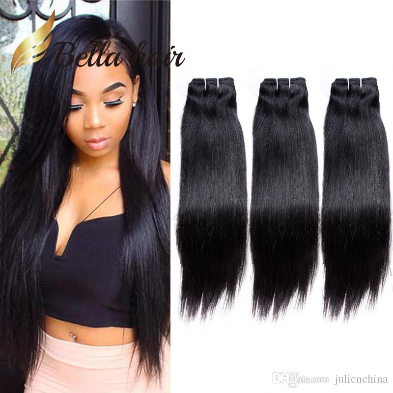 Bella Hair® 100% Unprocessed Brazilian Hair Weave 9A Dyeable Human Hair Extensions Natural Color 3 Bundles Silky Straight Julienchina