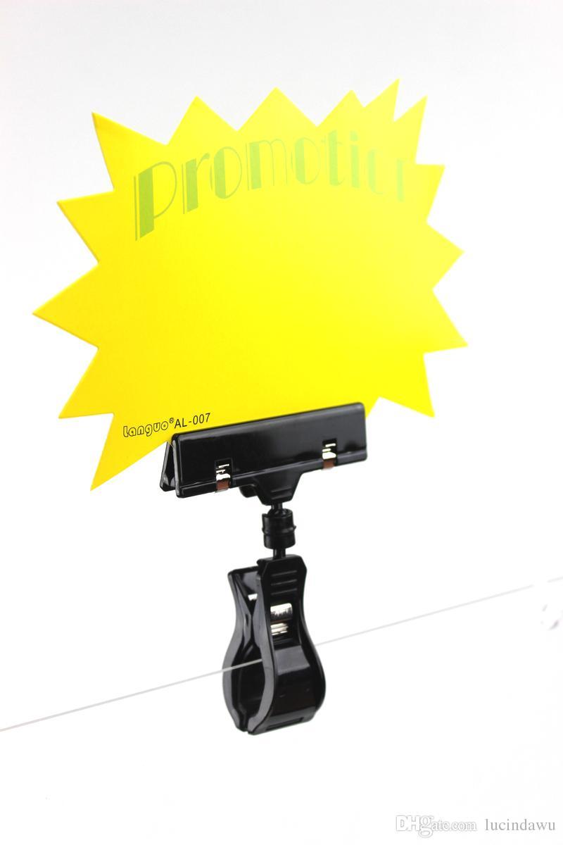 Plastique noir Ressort Antirouille POP Signe Label Titulaire de la Carte Étiquette De Prix Affichage Bannière Publicité Clips / Haute Qualité
