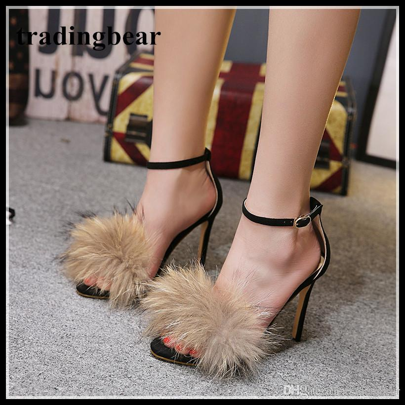 fa508988d5f4 Paris Fashion Women High Heel Ankle Strap Fur Shoes Summer Sandal Synthetic  Suede 2018 Size 35 To 40 High Heel Shoes Mens Casual Shoes From  Tradingbear