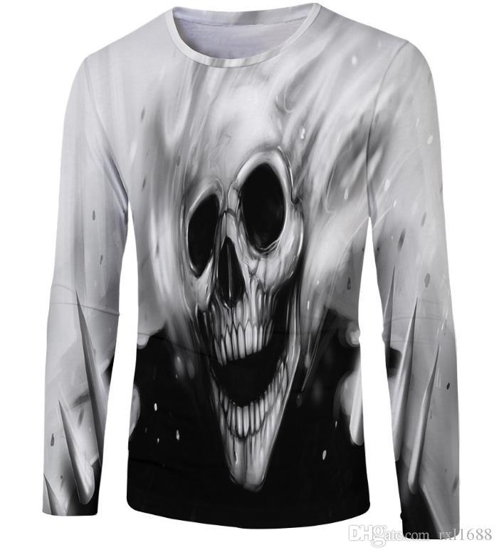 Devil skeleton printed round neck long sleeve T-shirt men pullover men's