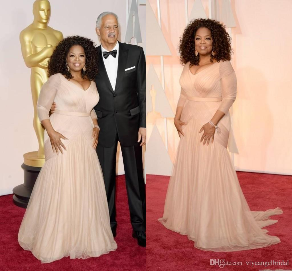 2018 Cheap Oprah Winfrey Oscar Celebrity Dresses Plus Size V Neck Tulle  With Long Sleeves Sweep Train Draped Party Evening Gowns Velvet Evening  Dresses ... 5222e704fb8b
