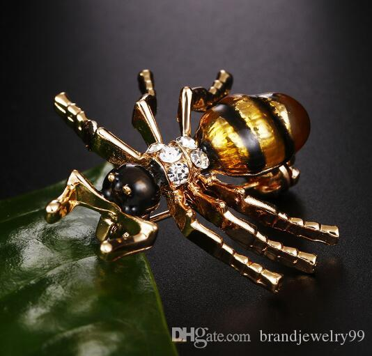 Creative Insect Ant Lapel Pins Brooches Crystal Enamel Mini Collar Pins Broach Brooch For Women Men Suit Shirt Dress Accessories 3*3cm