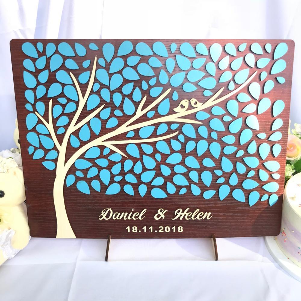Grosshandel Personalisierte Hochzeit Gastebuch 3d Holz