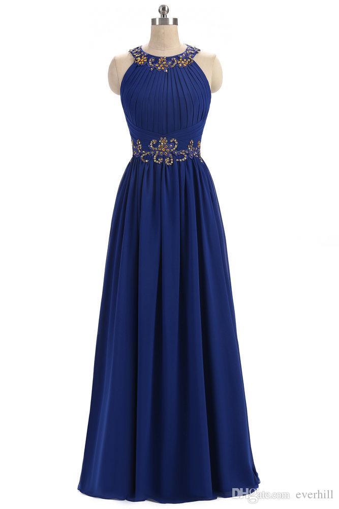 Royal Blue Chiffon Beaded Evening Dresses 2018 Gold Crystal Sequin O-Neck Long Dresses For Prom Party A-Line Avondjurken Robe Longue Soiree