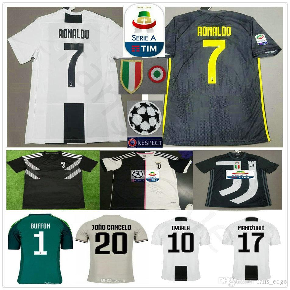best loved 179e7 b1764 RONALDO JUVENTUS Soccer Jersey 2019 RONALDO #7 BUFFON 10 DYBALA MANDZUKIC  Custom 19 20 Home Away Third Men Women Kids Youth Football Shirt