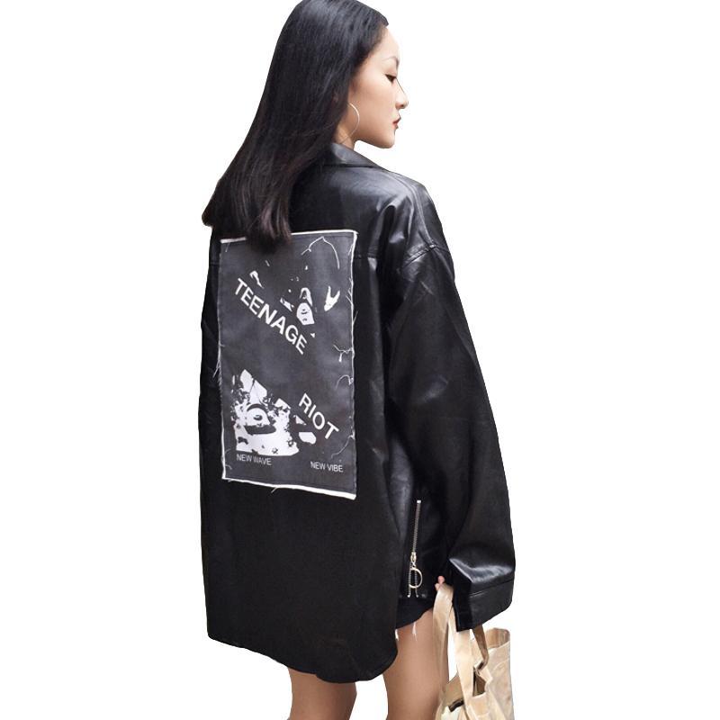 Harajuku Windbreaker Frauen PU Jacke 2018 Herbst Langarm Lederjacken für Frauen zurück Patch Printing grundlegende weibliche Jacke
