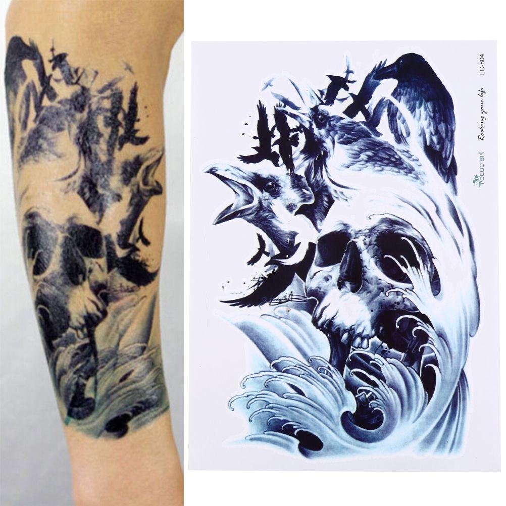 acheter 21x15 cm corps bras jambe mort crâne temporaire tatouage